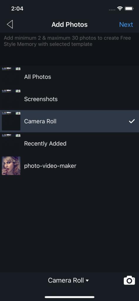 Vimory app Add Photos UI