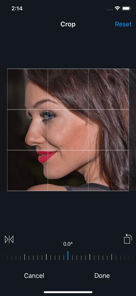 Vimory app Crop Photos UI