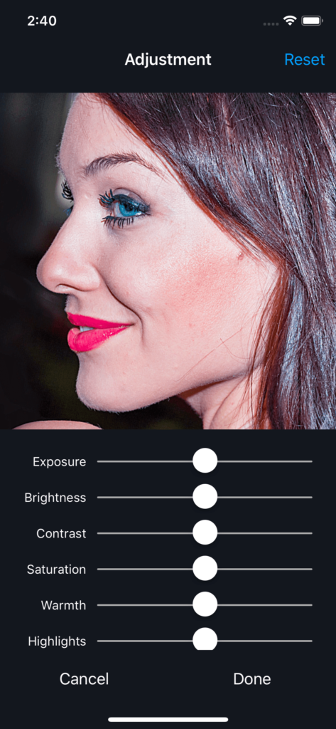 Vimory app Adjustment Photos UI