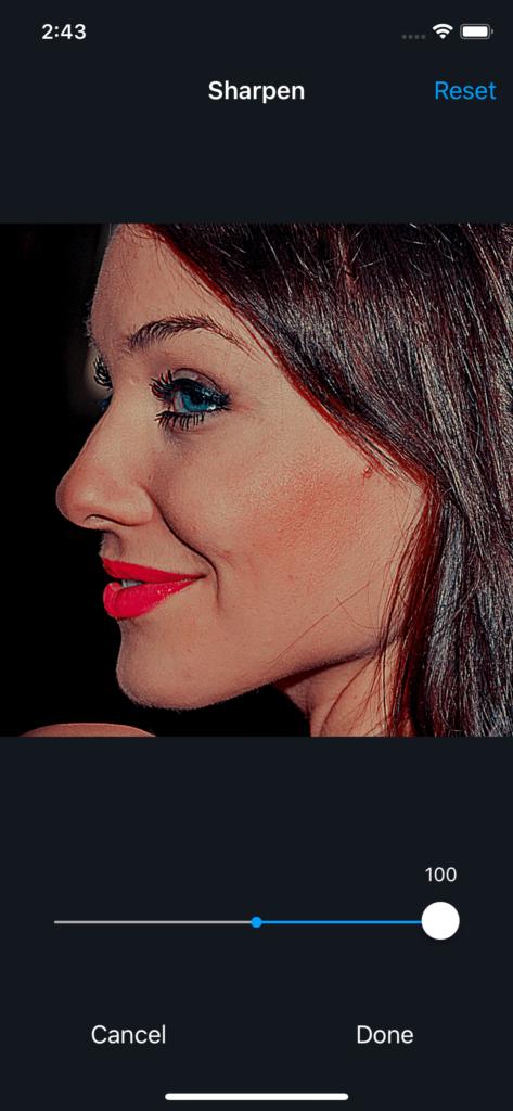 Vimory app Sharpen Photos UI