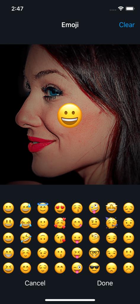 Vimory app Emoji Photos UI