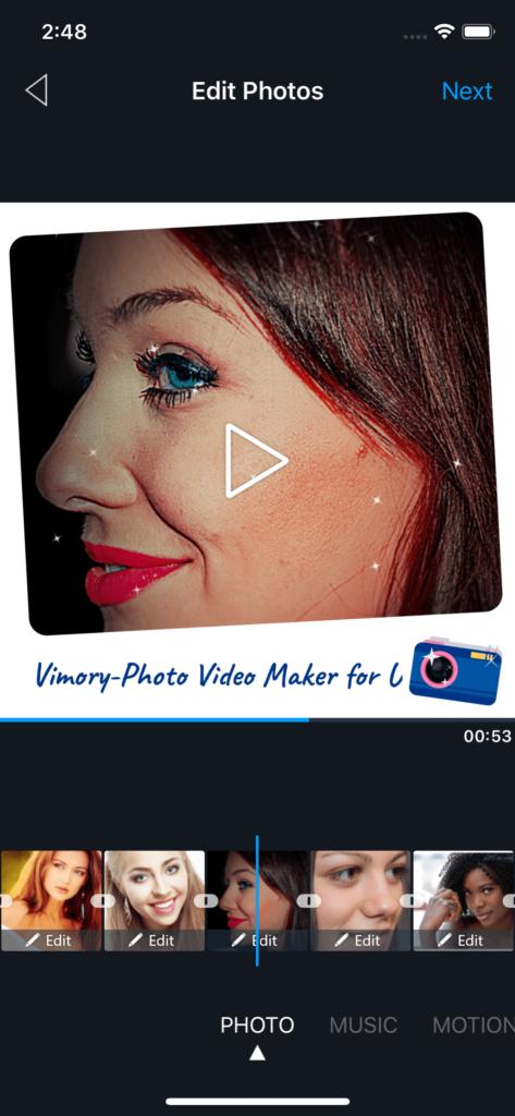 Vimory app Edit Photos UI