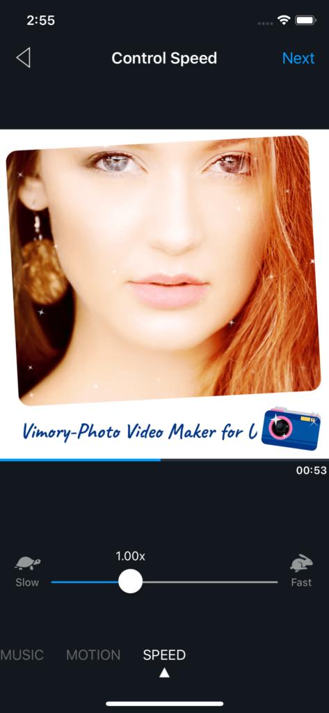 Vimory app Control Speed UI
