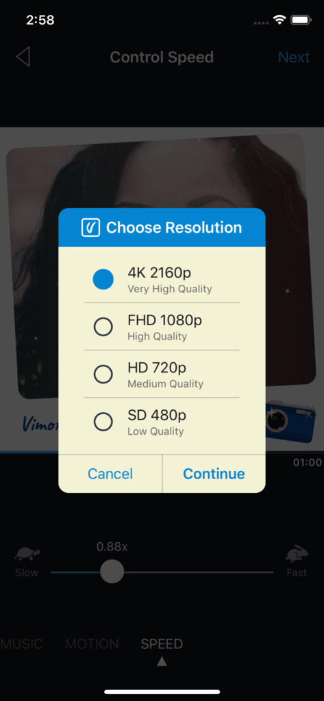 Vimory app Choose Resolution UI