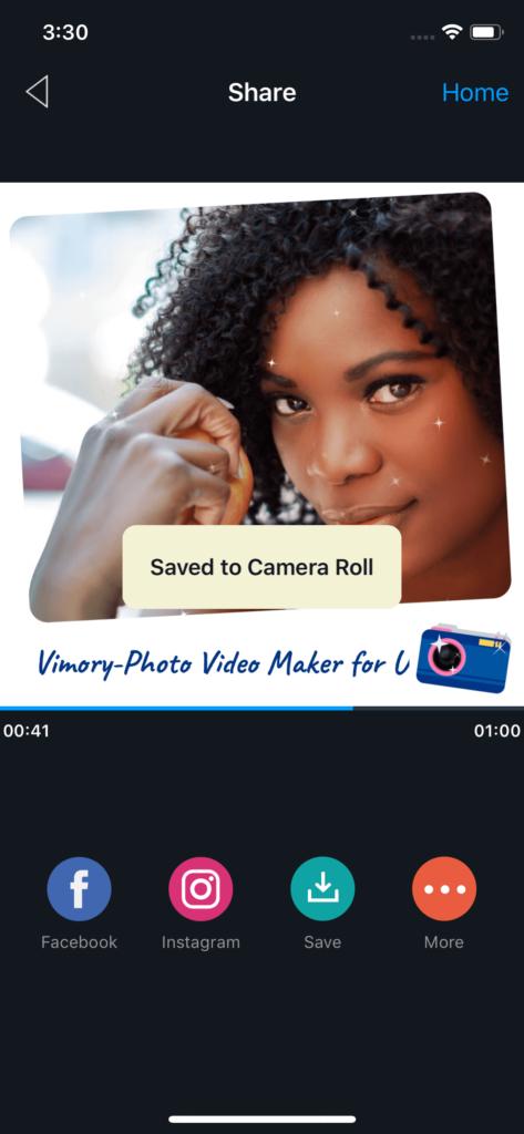 Vimory app Video Saving UI