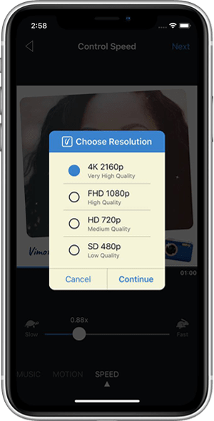 Choose Resolution - How to transform your images into a video with Vimory
